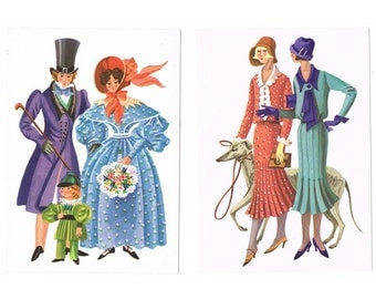 5 Vintage Costume Postcards - Costume History - Europe