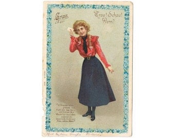 Vintage Costume Postcard - German Fashion  - Europe - Art Nouveau