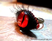 red evil eye ring polymer clay eyelash crystals the devil girl sexy hot black eye ring