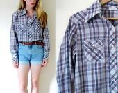 vintage 1970s shirt // blue plaid // western // pearl button // super soft // size small s // medium m // large l