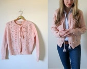 vintage 1950s Peachy Pink Button Sweater Cardigan with Flowers and Drawstring -- S