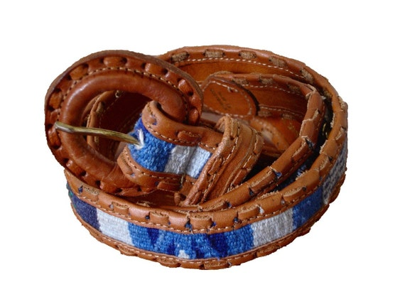 vintage Southwestern Guatemalan Leather and Blue Tapestry Belt -- XS/S/M