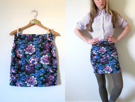 "vintage 1990s Mini Skirt // Purple and Pink Floral Print // High Waisted 28"" -- S/M"