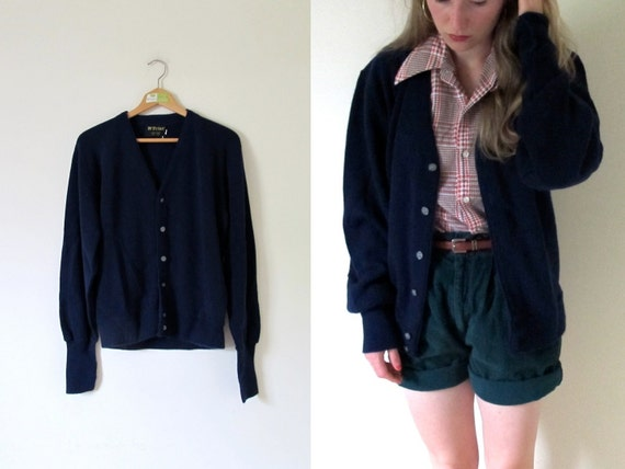 vintage 1980s Unisex Navy Blue Grandpa Button Sweater Cardigan -- M/L