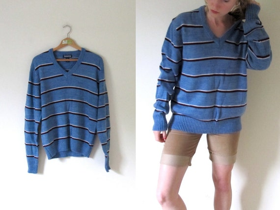 vintage 1980s Cornflower Blue, Burgundy, and White Striped V-neck Sweater -- M/L