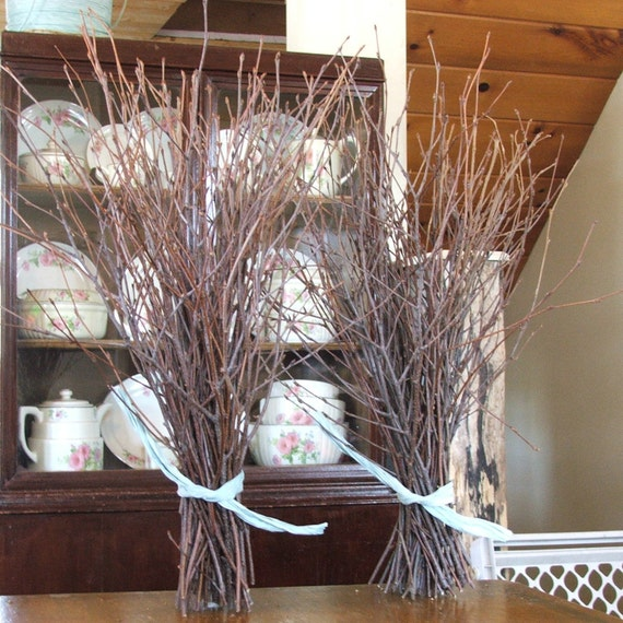 Natural birch branches rustic decor event centerpieces
