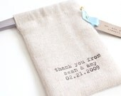 Set of 150 - Custom Stamped Handmade Drawstring Pouches with RIBBON - Shop Bags, Wedding Favors