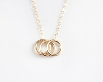 Triple Ring Necklace - 14k Gold Filled Rings - Sisters