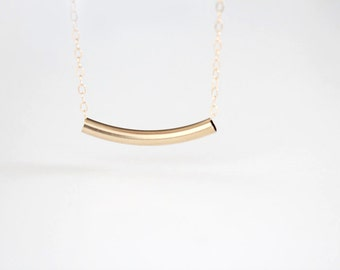Curved Bar Necklace - 14k Gold Filled Bar - Estelle