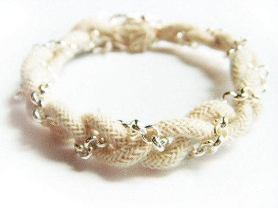 Braided Natural Rope and Silver Chain Bracelet