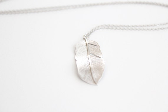 Silver Feather Necklace - Flowing Feather