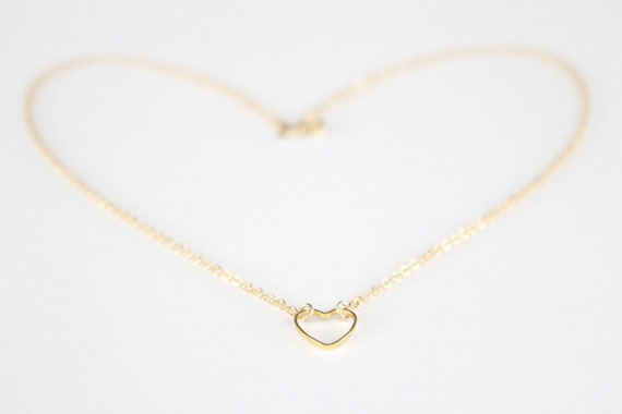 Heart Necklace, Gold - Open Hearted
