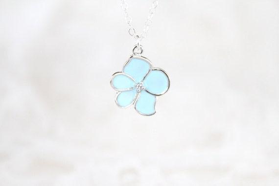Flower Necklace - Petite Blue - Silver