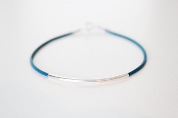 Sterling Silver Tube and Teal Leather Cord Bracelet - Modern Friendship Bracelet - LAST ONE - SALE