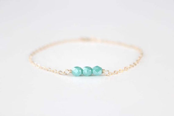 Beaded Bracelet - Sweet Pea - Mint Turquoise