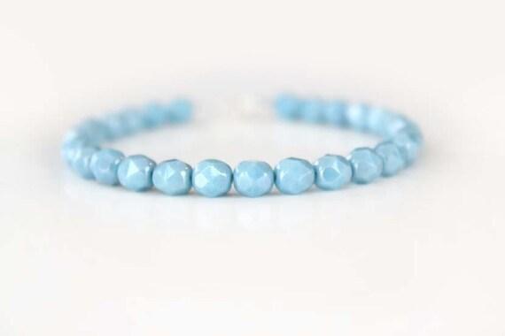 Blue Glass Beaded Bracelet - Ocean