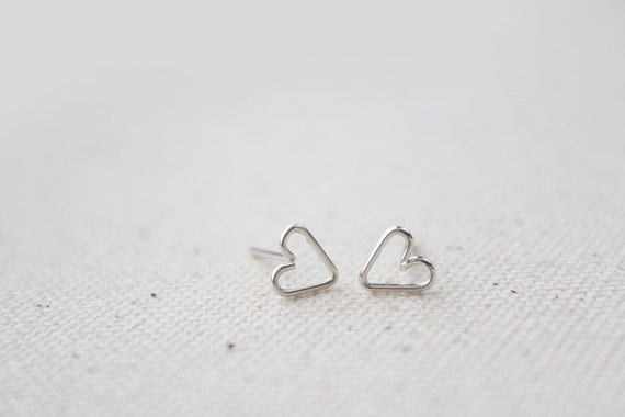 Tiny Open Heart Stud Earrings - Hand Formed - Silver - Lorelai