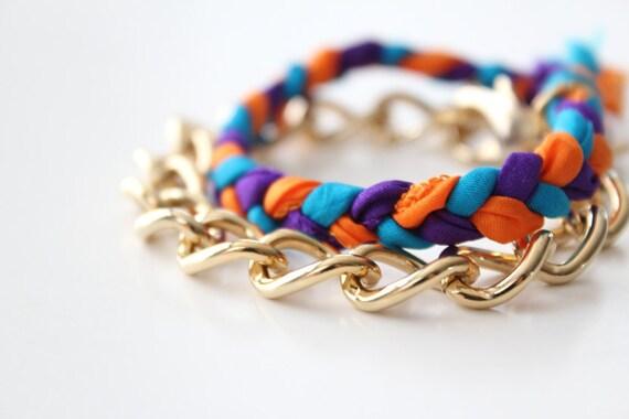 Chunky Gold Chain Bracelet and Neon Silk Ribbon Bracelet Set - Summer Stack