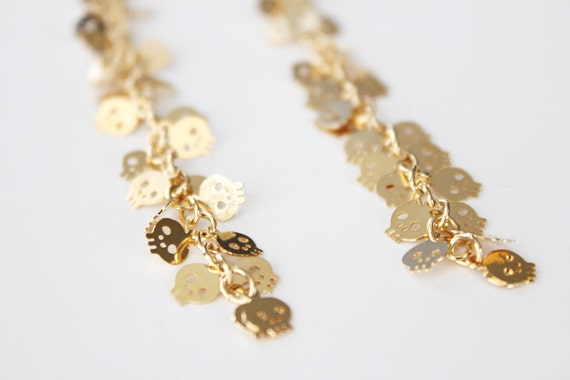 Long Dangle Earrings - Skull Earrings - Silver or Gold