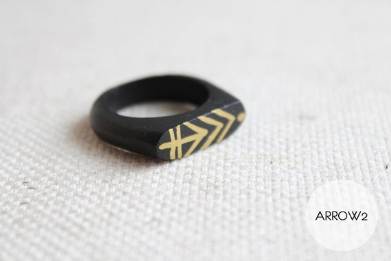 Hand Painted Wooden Ring - Chevron Arrow