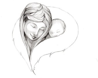 Inupiaq Mother and Child.... Alaskan Native drawing....3 size options