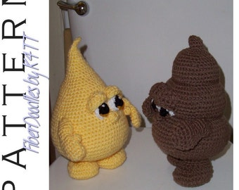 INSTANT DOWNLOAD : Piddle n Poo - No.1 / No.2 Crochet Pattern