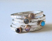 Silver, gold and gemstone stack rings