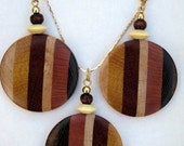 Laminated Woodturned Ear Ring and necklace Wood Jewelry Set