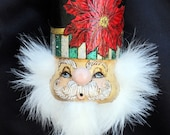 Poinsetta Black Nutcracker Ornament