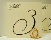 Wedding Table Number Large Free Style Numbers on a Square Card in Custom Color to Coordinate with your Wedding Reception Decor