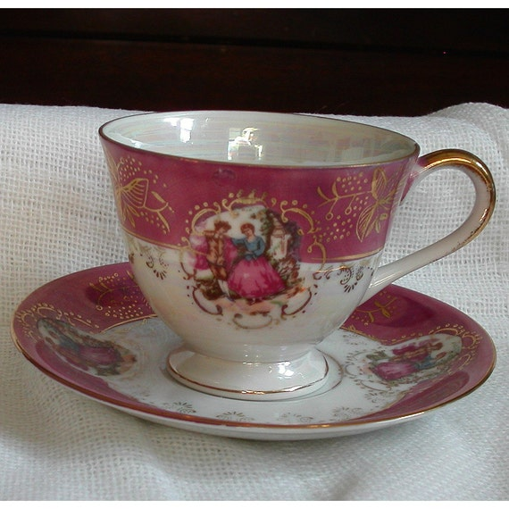 Limoges Style Tea Cup and Saucer