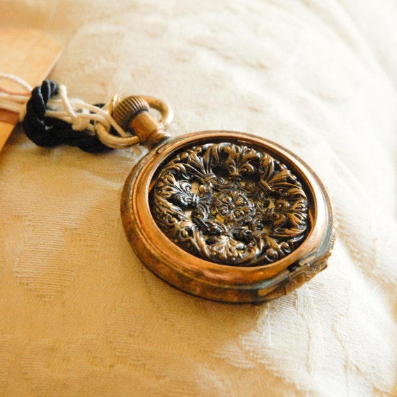 Gold Filled Watch Case Necklace with Victorian Button