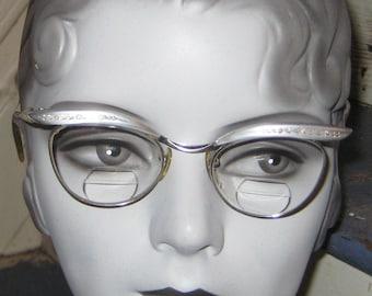 SALE SALE Great Vintage 1950s 1960s Rockabilly Eyewear Rhinestones Aluminum 12K GF Frames Meow Kitty Cat