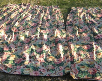 Fab 1940s Cabbage Rose Curtain Panels Sweet French Country Chic