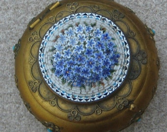 Antique Micro Mosaic Patch pill Trinket Round Box Fabulous Floral