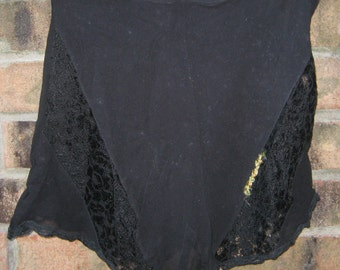 Vintage Hollywood Chic 1920s 1930s Black Sheer lace Yellow Flowers   Tap Panties Size XS S