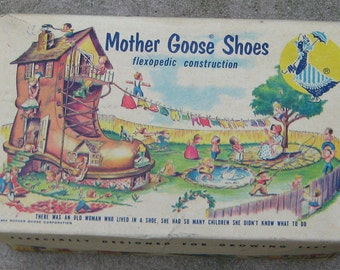 Sale Sale Vintage 1950s 1954  Colorfull Graphic Baby Shoe Box Great display Toys Girls Boys Dolls Mother Goose