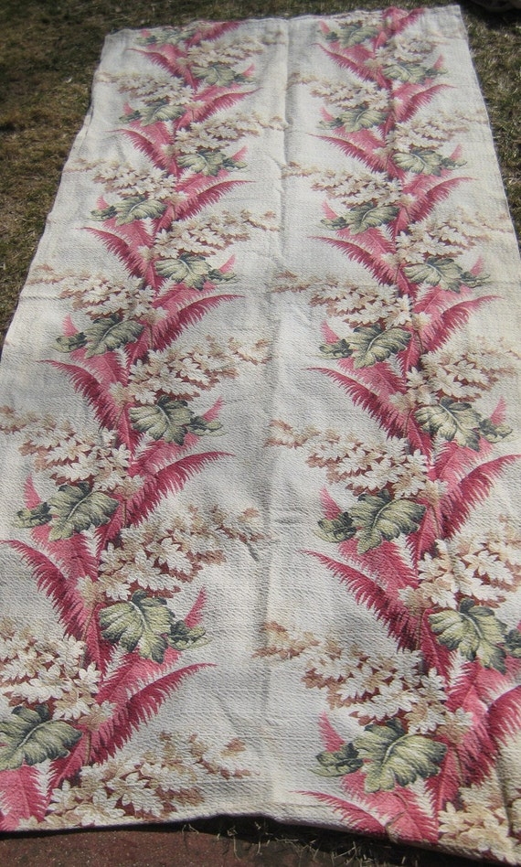 Chic  Vintage Nobby Bark Cloth Curtain Panel Way Sweet