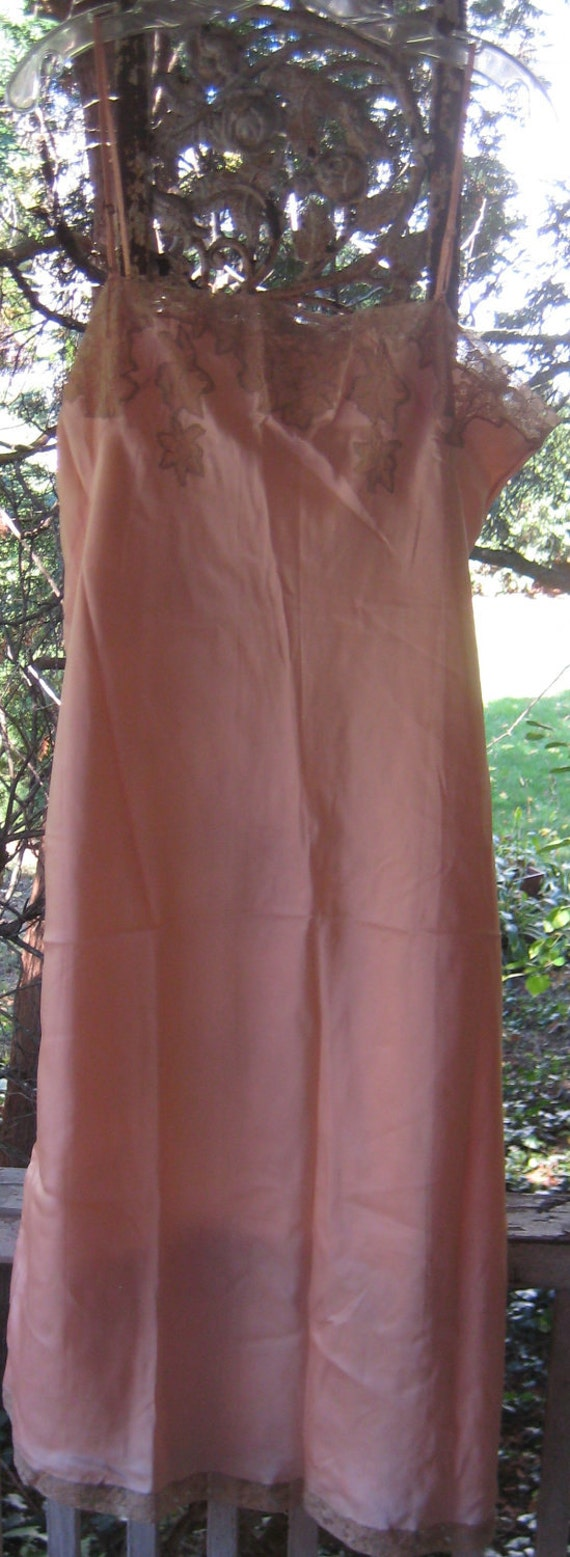 Vintage Hollywood Chic 1920s 1930s Peach Satin Slip L XL With Lace floral Accents  Slip Never Worn Or Washed.