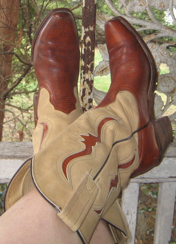 Sale Sale Home Home On The Range Great Vintage Frye Cut Out 2 Tone Cowboy Boots Size 8