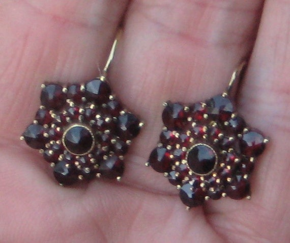 Sorry U Missed me On Res   Fab Estate Victorian Blood Red BohemIan Garents Lever Back Earrings
