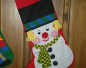 Snowman Christmas Stocking 1 of set of 3 left
