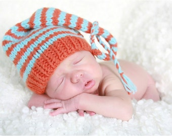 Striped Baby Hat, Handmade Pixie Style Orange and Turquoise Newborn Baby Stocking Cap Munchkin Hat, Hand Knit Photo Shoot Prop