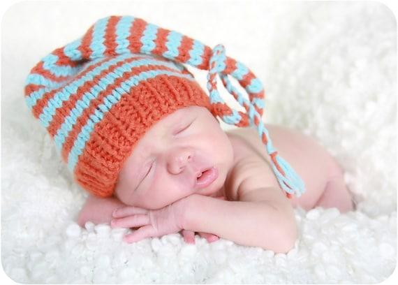 Striped Baby Hat, Handmade Pixie Style Orange and Turquoise Newborn Baby Stocking Cap Munchkin Hat, Hand Knit Photo Shoot Prop