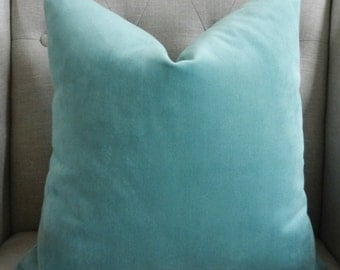 "Decorative Designer Pillow Cover in 18""X18"" in Aqua velvet"
