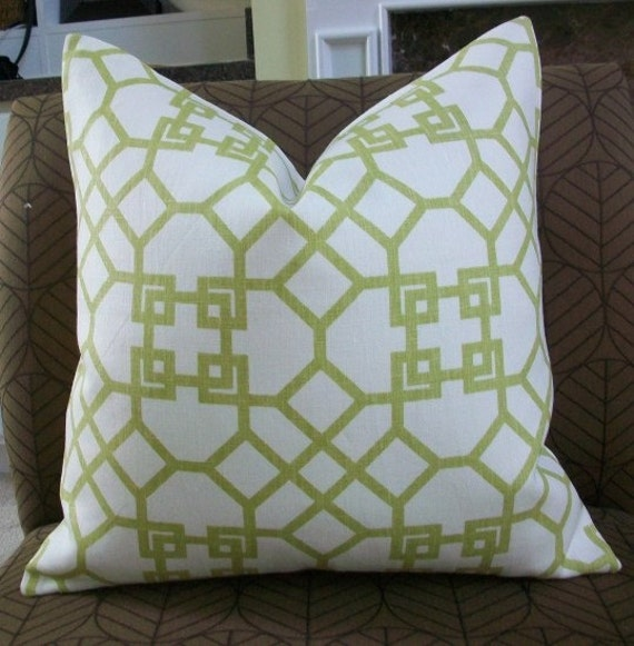 Decorative Designer pillow cover - 18X18 - Windsor Smith for Kravet- Pelagos print in lime