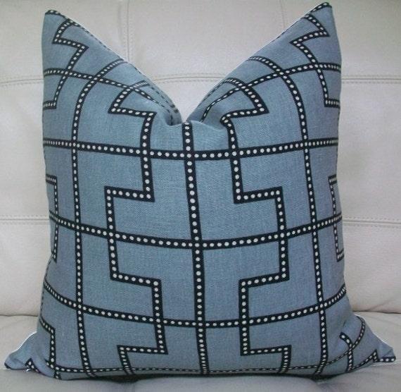 Decorative Designer Pillow Cover - 18X18 - Celerie Kemble Bleecker print in Twilight