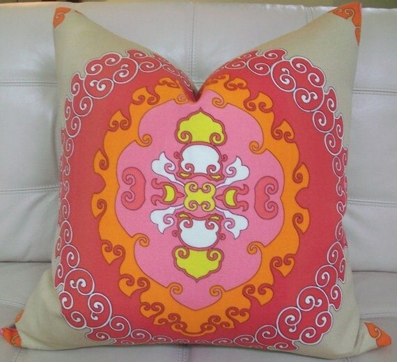 Decorative Designer pillow cover - 22X22 - Trina Turk  for Schumacher - Super Paradise print  in punch - Pattern on the front