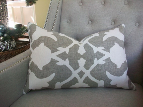 Decorative Designer  Lumbar Pillow Cover  - 15X23 - Barbara Barry Poetical in Grey - Pattern on the front