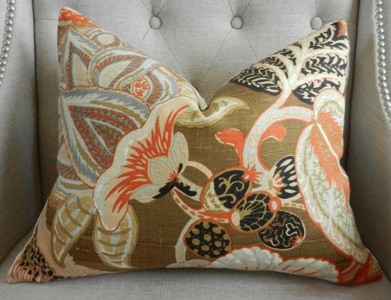 Schumacher  Zanzibar pillow cover in Sandalwood - 16X20 - Pattern on the front